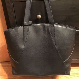 Lululemon black leather yoga bag